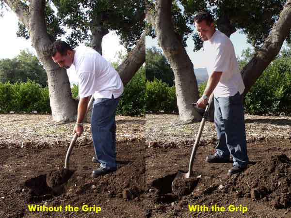 Comparison of shovel with/without the Grip